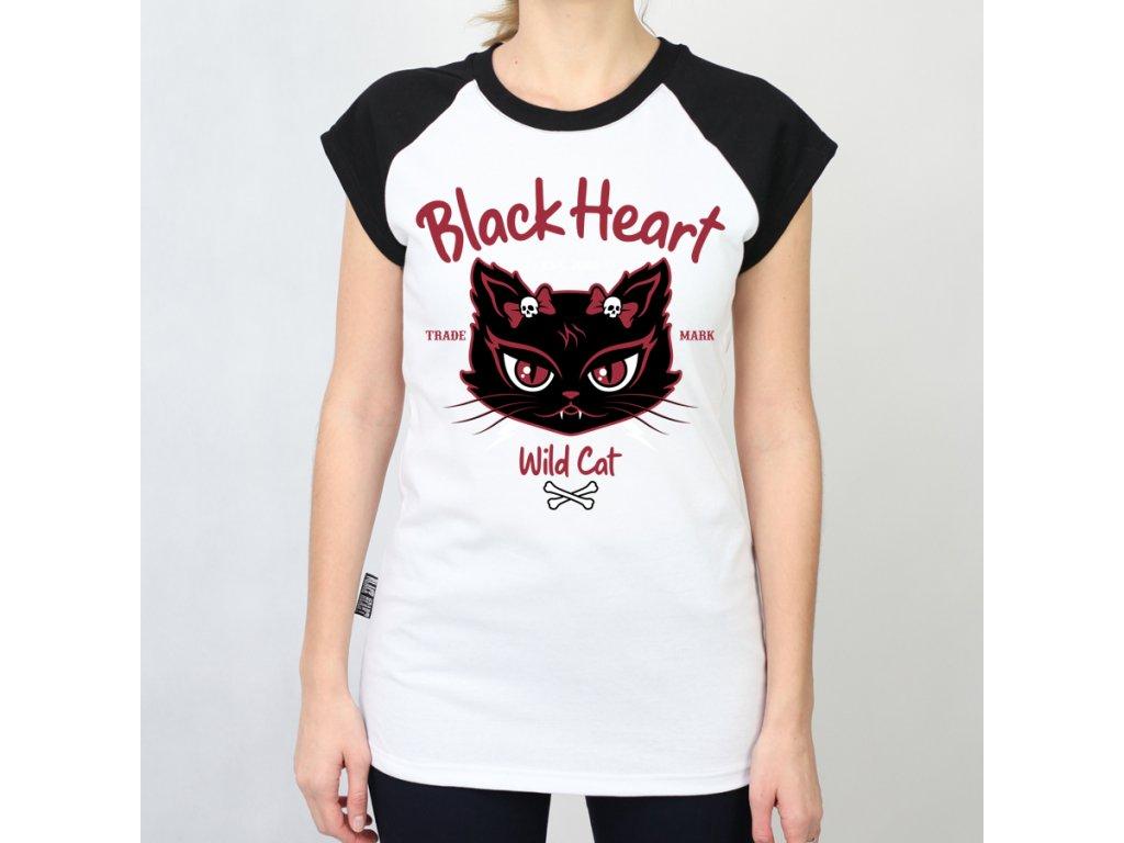 dámské triko wild cat black heart