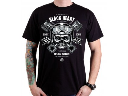 Pánské Triko BLACK HEART PISTON SKULL