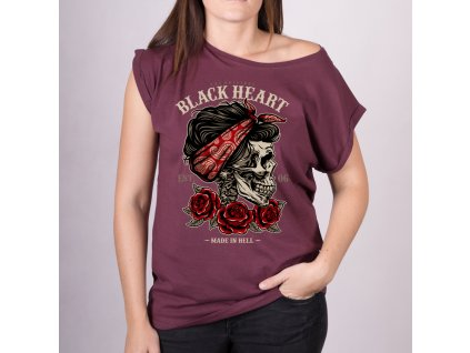 Triko BLACK HEART PIN UP SKULL EXT 6