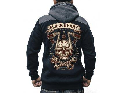 MOTORKÁŘSKÁ pánská mikina black heart chopper skull 1jpg