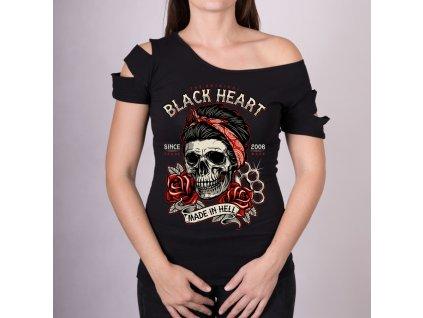 DÁMSKÉ TRIKO BLACK HEART JENY SKULL