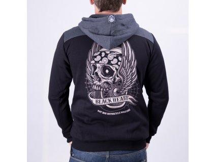 MOTORKÁŘSKÁ Mikina black heart wings skull 1