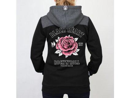 dámská mikina black heart rocj n roll rose