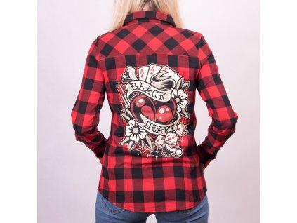 dámská košile black heart rockablly heart
