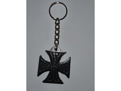 klíčenka black heart hot rod cross leather