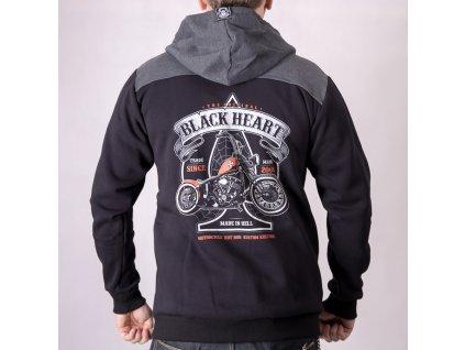 MOTORKÁŘSKÁ mikina black heart orange chopper 2