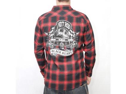 košile black heart hot roder skull