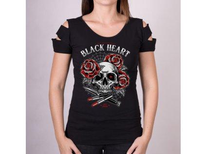 Triko BLACK HEART DESTROY LIPSTICK SKULL 14