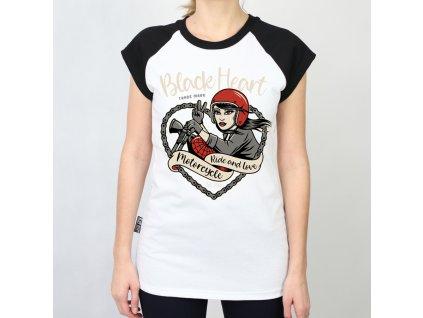 Damské triko black heart biker girl3