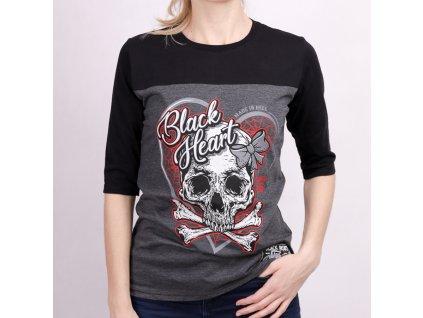 Triko BLACK HEART RIBON SKULL