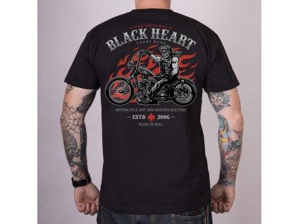 Pánské Triko BLACK HEART FLAMES RIDER