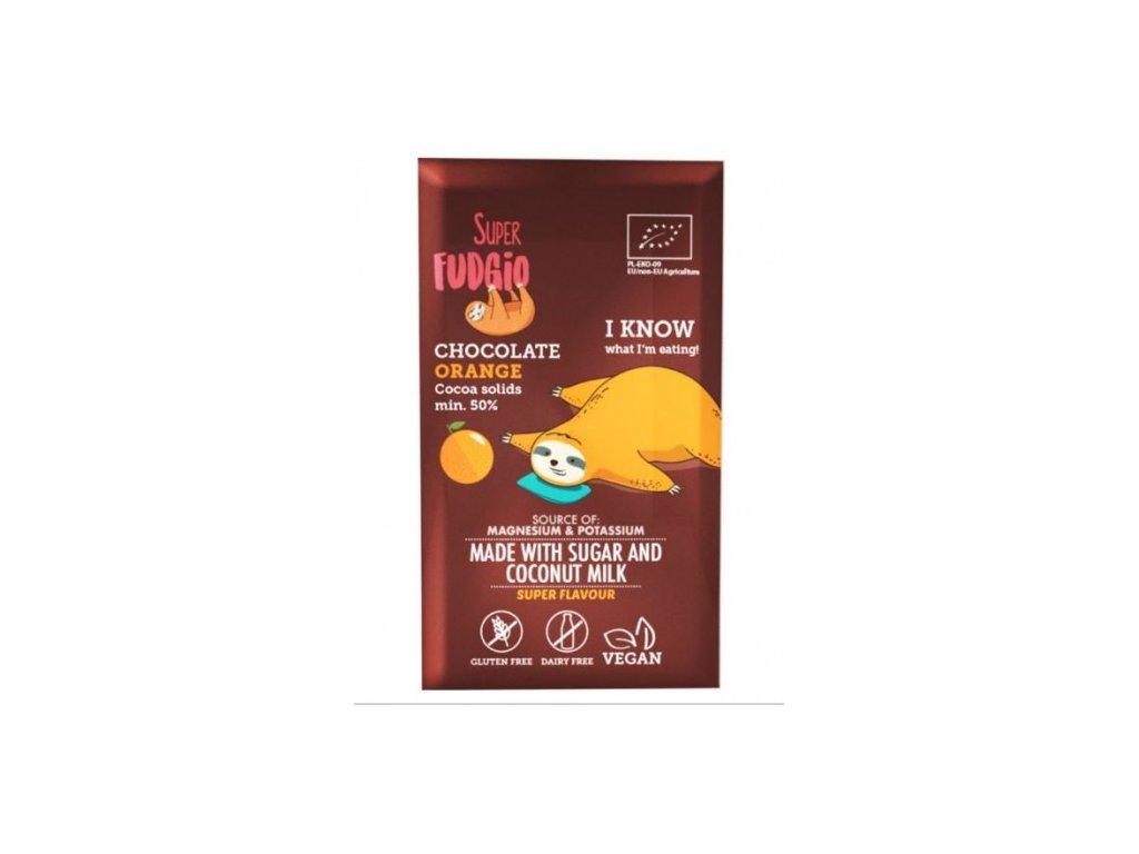 cokolada s kokosovym mlekem a pomerancem super fudgio 80g