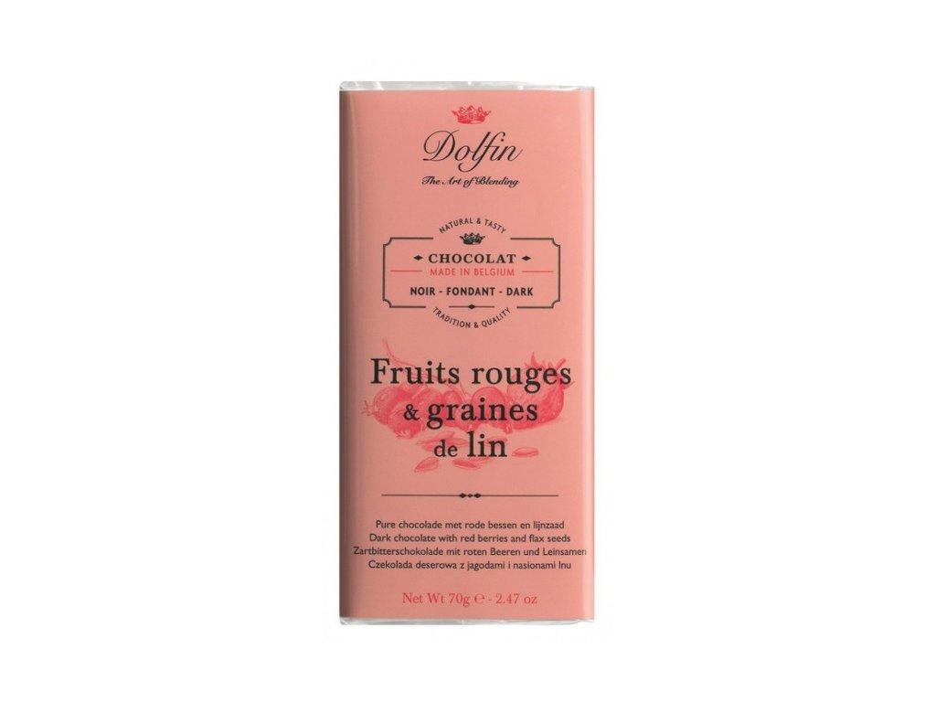 Čokoláda Dolfin hořká 60 % s red berries a lněnými semínky 70 g