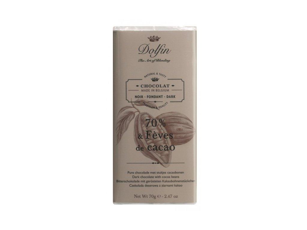 Čokoláda Dolfin extra hořká 70 % s kakaovými boby 70 g