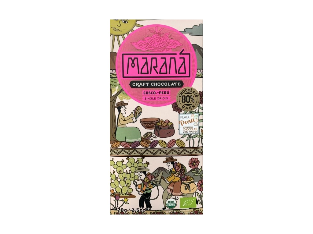 BIO čokoláda Maraná hořká 80 % Cusco - Peru 70 g