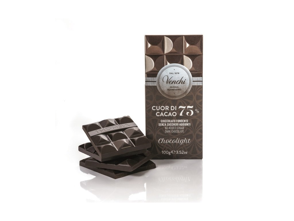 Čokoláda Venchi hořká 75 %, bez přidaného cukru 100 g
