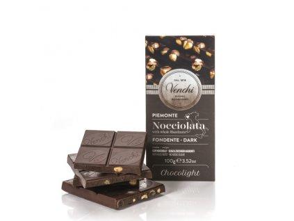 Čokoláda Venchi hořká 54 % s celými lískovými oříšky, bez přidaného cukru 100 g