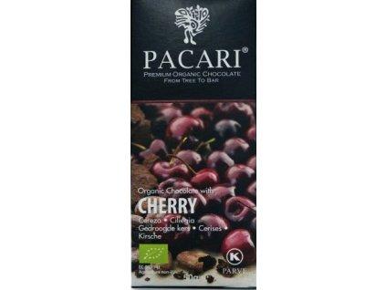BIO čokoláda Pacari hořká 60 % s třešněmi 50 g