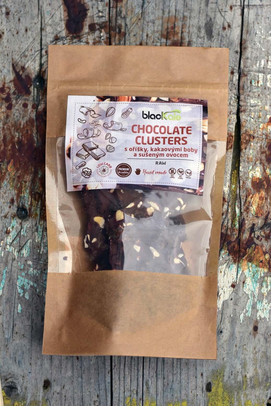 Black Kale s.r.o. RAW CHOCOLATE CLUSTERS s oříšky a ovocem (100g)