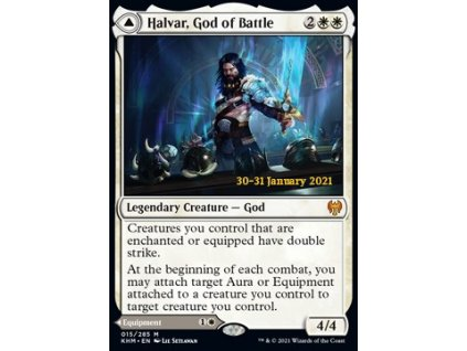 Halvar, God of Battle // Sword of the Realms - PRERELEASE PROMO FOIL