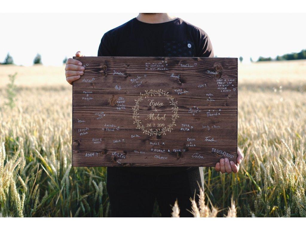 Dřevěná cedule na podpisy - Boho