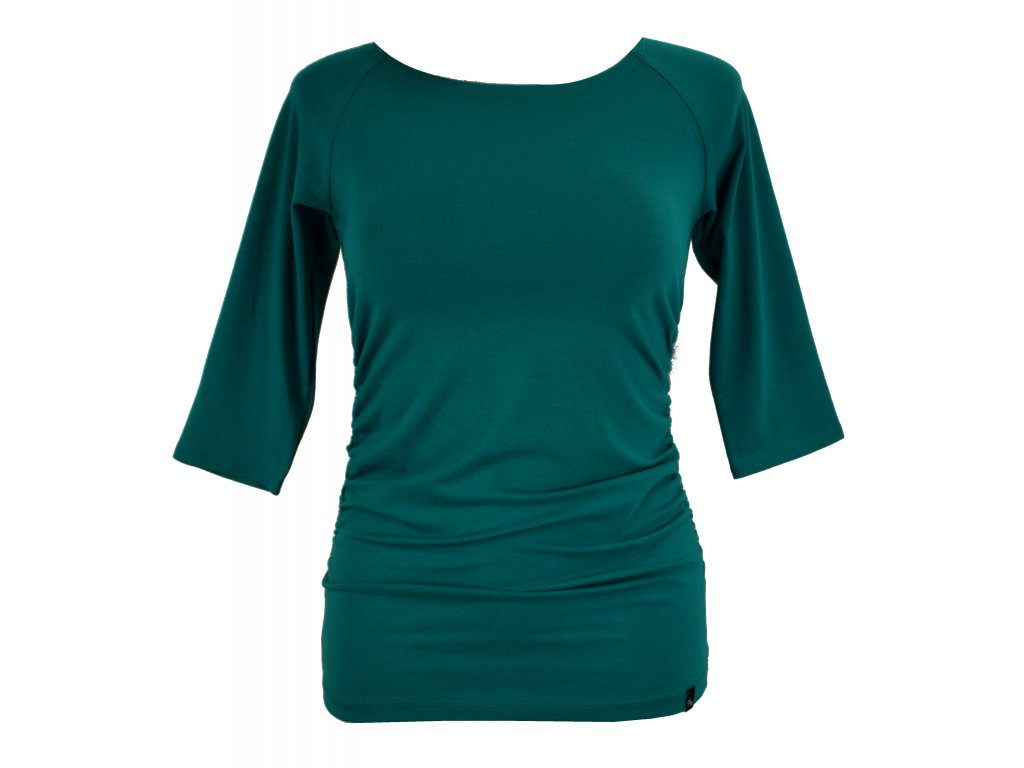 tričko řasené petrolejové