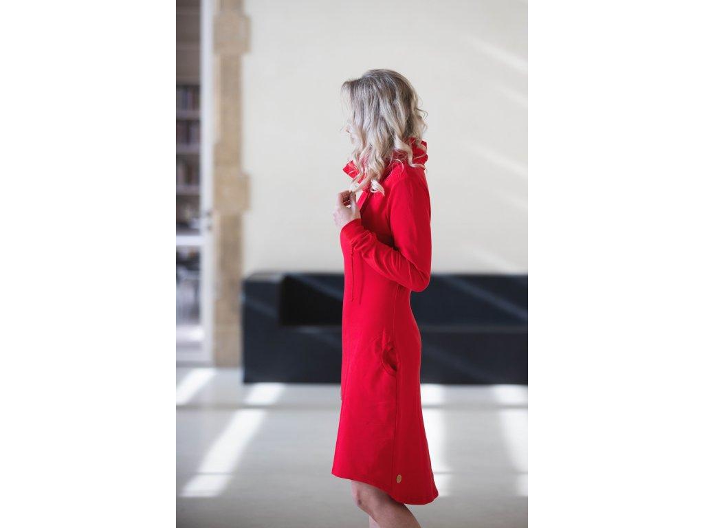 Mikinové šaty - červené