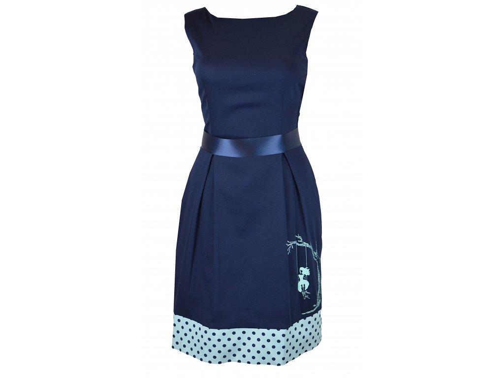 Šaty klasické - modré s puntíky a holka na houpačce