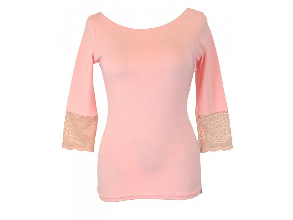 Tričko s krajkovými rukávy - světle růžové