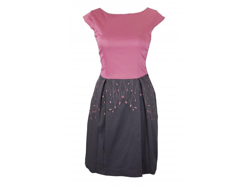 Šaty klasické - růžové lístečky