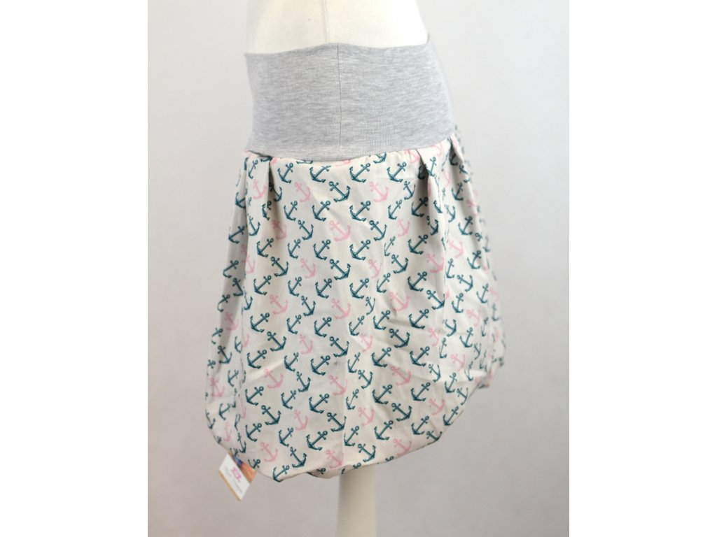 Balónová sukně - béžová s kotvičkami