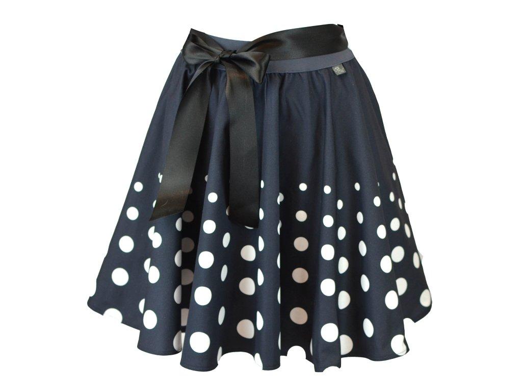 Kolová sukně - do gumy - postupné puntíky