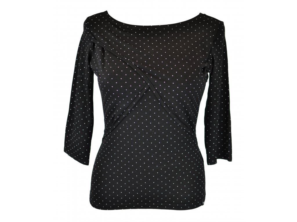 Tričko kojící - černé s puntíky