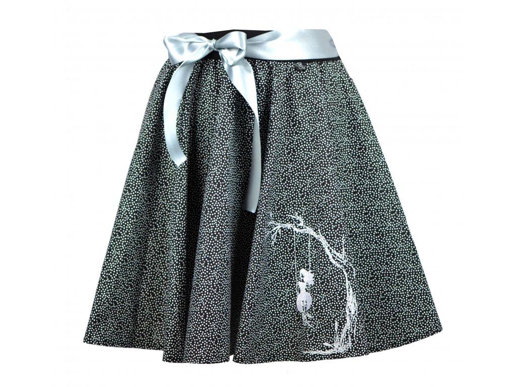 Kolová sukně - černá kropenatá a dívka na houpačce