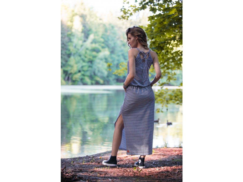 Maxi šaty - šněrovací pruhované