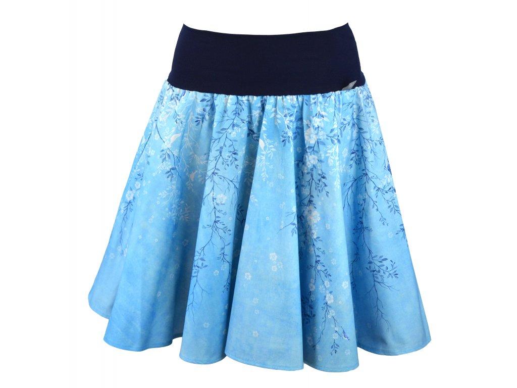 Kolová sukně - do nápletu - ptačí romance - modrá
