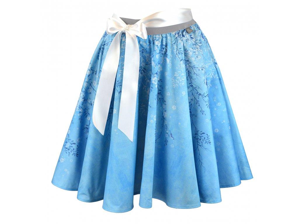 Kolová sukně - do gumy - ptačí romance - modrá