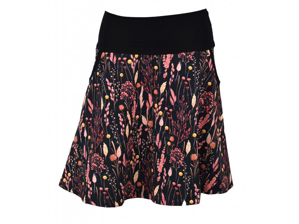 Půlkolová sukně - tmavá s kvítky