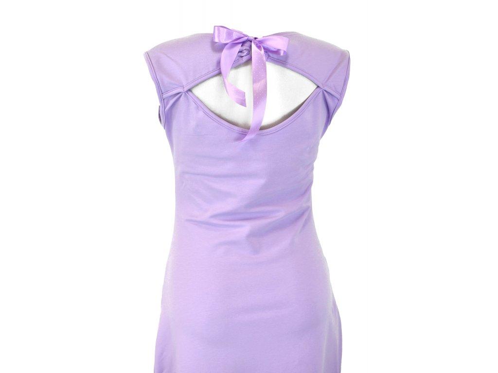 Šaty s průstřihem na zádech - lila