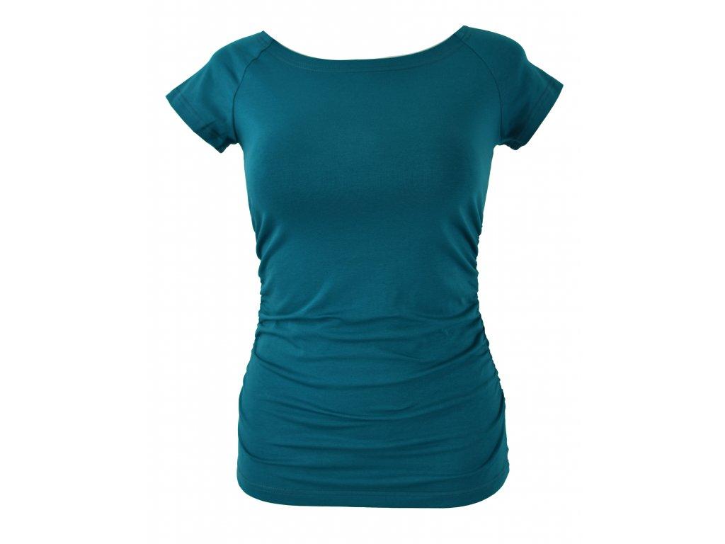 Tričko řasené - petrolejové