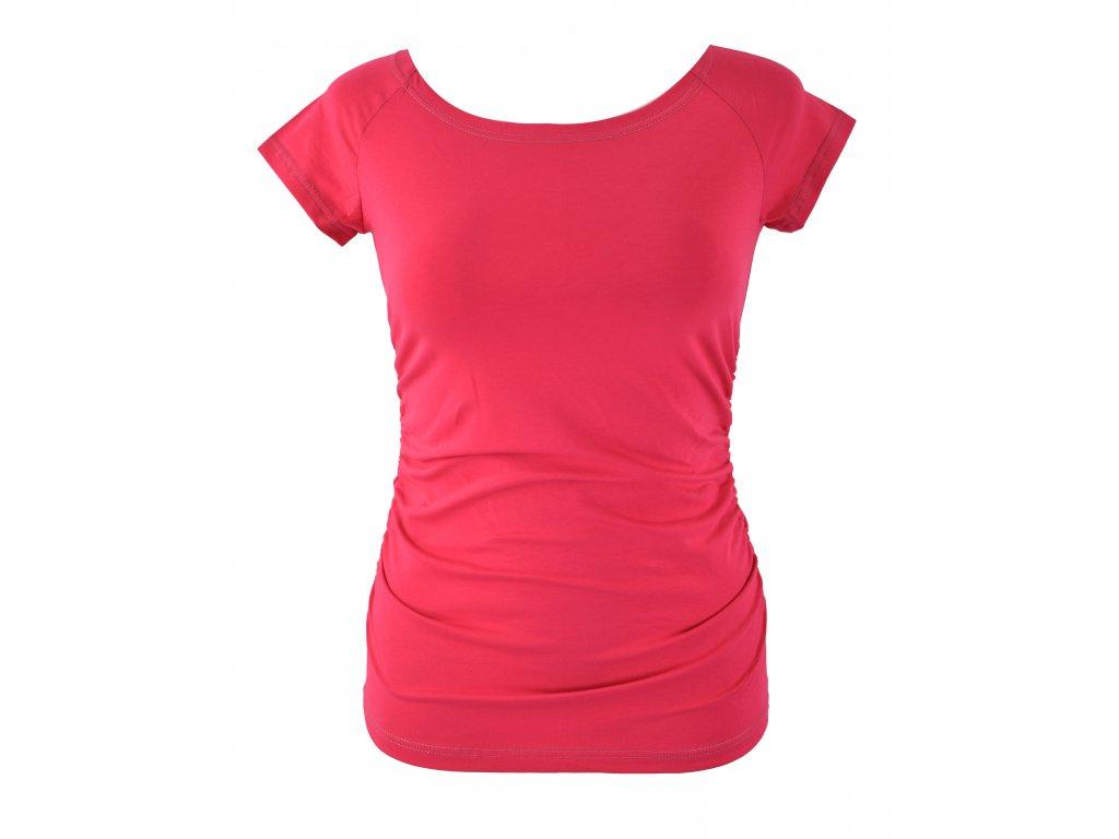 Tričko řasené - zářivě růžové