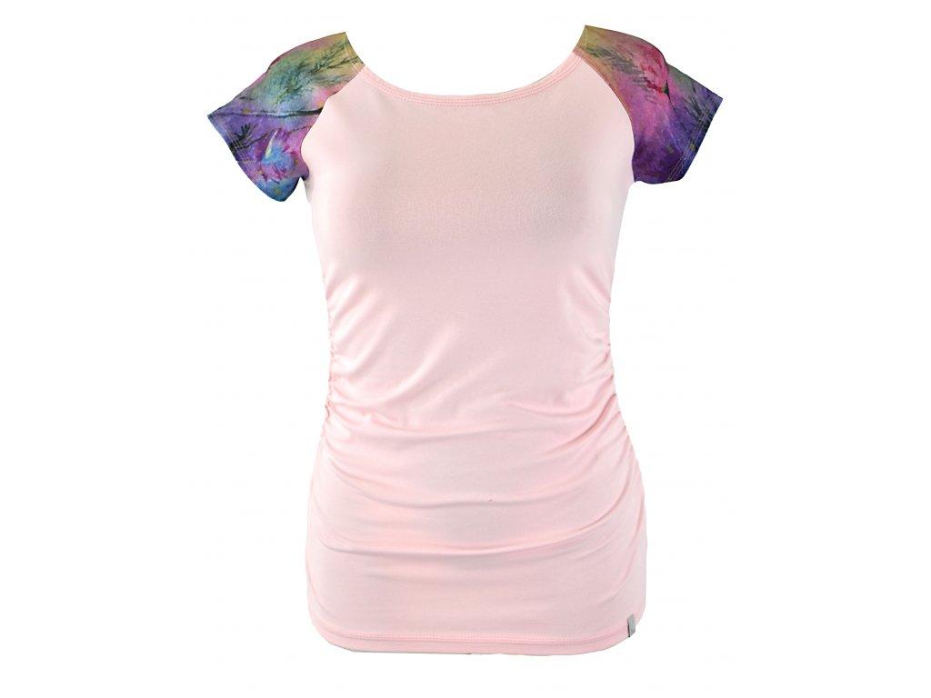 Tričko řasené - růžové s rukávky