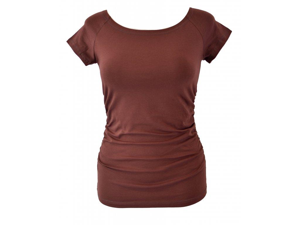 Tričko řasené - hnědé