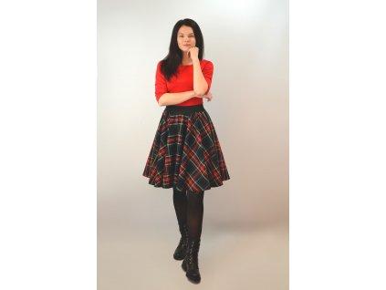 Kolová sukně Kostkovaná tmavá do gumy