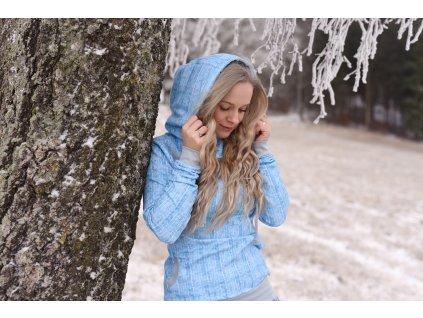 Mikina s kapucí modré lístečky :)