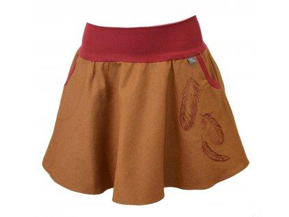 Půlkolová sukně - hnědá s pírky
