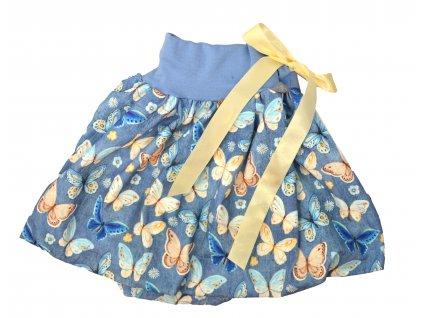 Dětská sukně - jeans motýlci