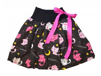 Dětská sukně - růžové kočičky