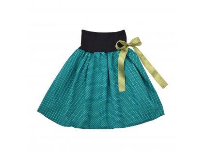 Dětská sukně - zelená a zelené puntíky