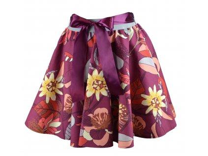 Kolová sukně - vínové abstraktní květiny